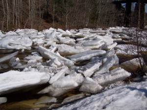 A jumble of ice on Martin's River as the weather turns warm
