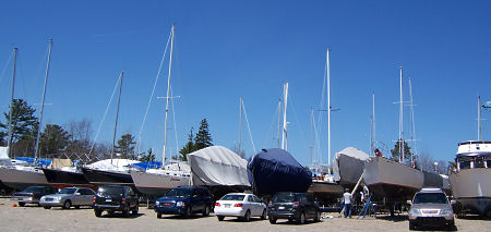 A busy spring day in the marina