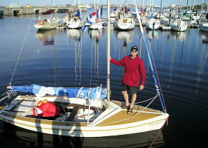 Rob Dunbar about to leave Shearwater Yacht Club on tiny Celtic Kiss.