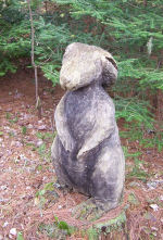 Rabbit carved out of tree stump