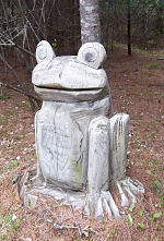 Frog carving in tree stump