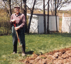My Danish grandfather at 83, cheerfully digging up a nice lawn to grow vegetables.