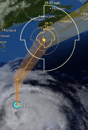 Hurricane Bill approaching Nova Scotia as seen on StormPulse.com. Select clouds, windfields and map labels, then go fullscreen for the best picture.