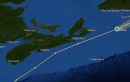 Track of Hurricane Bill along the coast of Nova Scotia, August 23, 2009. Image from StormPulse.com.