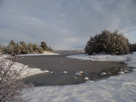Tidal inlet with snow