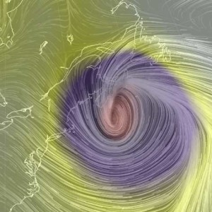 Rendering of the storm at 6 pm on March 26, showing wind direction and barometric pressure, from http://earth.nullschool.net/